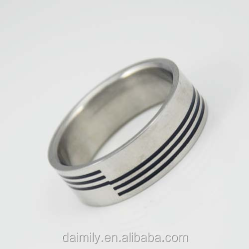 Wholesale China Jewelry Stainless Steel Stamping band with three line Ring