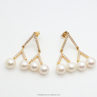 wholesale hot gold filled women's chandelier earrings with pearl inlay