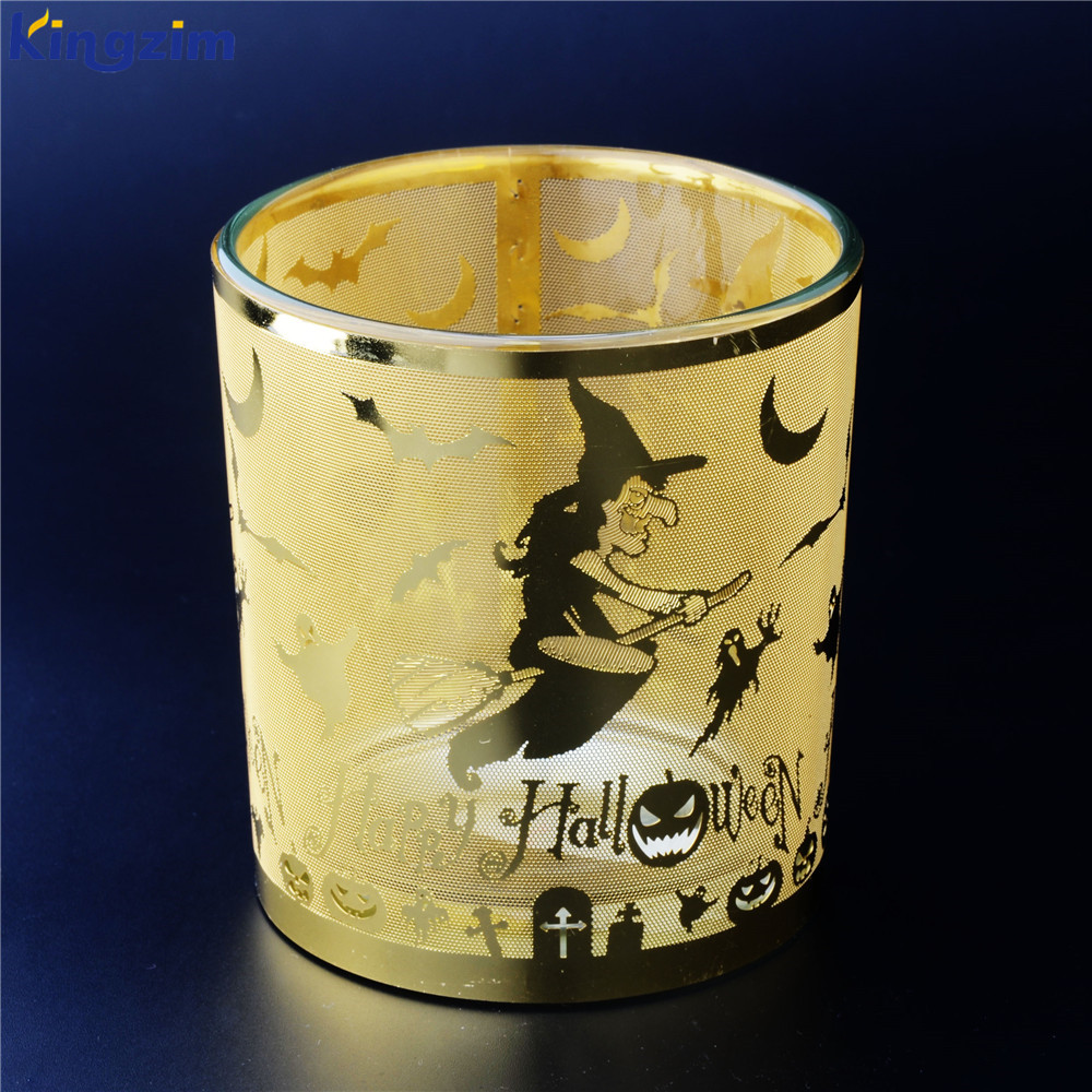 Gold laser engraving design witch glass tealight candle holder
