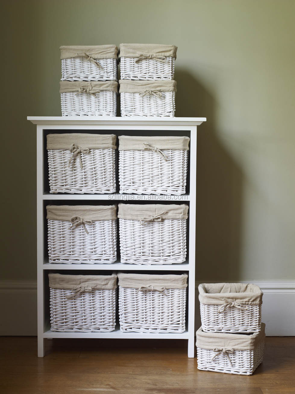 White Floral Wicker Basket Storage Cabinet Unit With