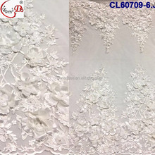 Hot selling white 3d flower white lace embroidered fabric CL60709-4 women christmas lace french net lace