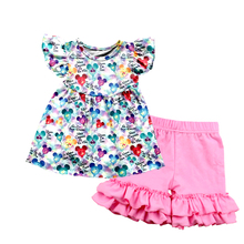 New design baby girls outfit mickey balloon printed children's boutique clothing set summer icing short kids clothes