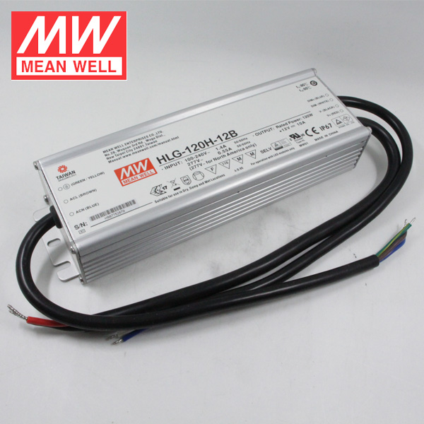 Mean Well Waterproof Dimmable 120W 12V 10A Power Supply IP67 HLG-120H-12B