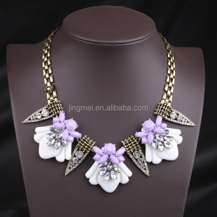 NK4741 New arrival two colors za gold plated geometric resin fashion statement ra chunky bead necklace designs