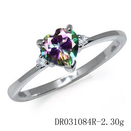 Mystic Topaz Wedding Heart Ring Handmade Silver Jewellery From Guazhou China Factory DR031083R