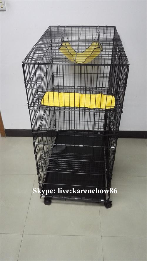 Wholesale Cheap Outdoor Indoor 3 Layer Big Large Luxury Folding Metal Wire Breeding Pet Cat Cage