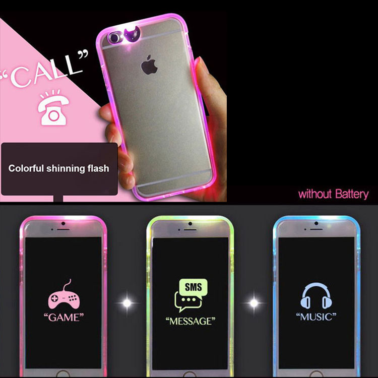Stylish LED Calling Sense Flash Light Hard Case Back Cover for IP6/6s(Heart A)