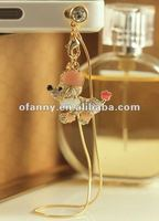 Lovely crystal enamel dog tassel earphone jack anti dust cap plug