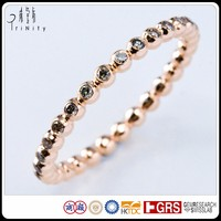 Brown Diamond Band Ring in 18K Rose Gold Simple Design with Gems Micro Pave Eternity Ring