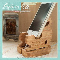 2016 Taiwan manufacture new design Bamboo funny car mobile cell phone holder for desk