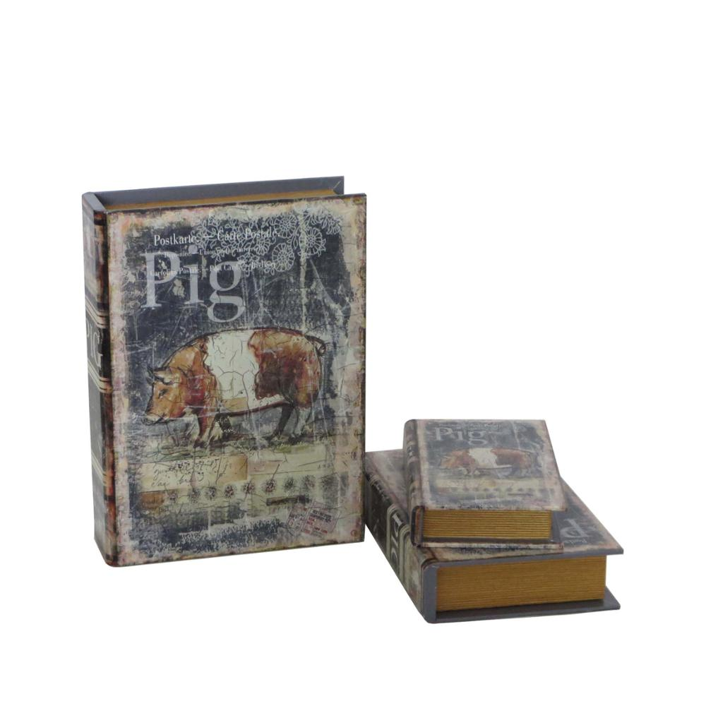 Pig plain wooden fake book box with cracked leather