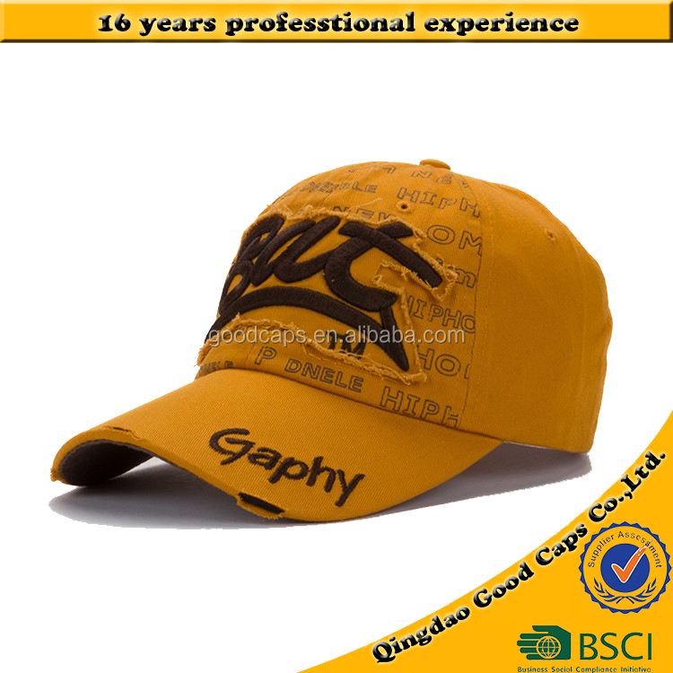 100%cotton twill 6 panel baseball caps and hats men customized 3D embroidery logo washed cap sports hat