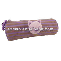 Flocking printing stripes lovely doll pencil case