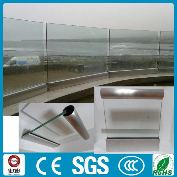 U Channel Aluminium Frameless Glass Railing For Deck