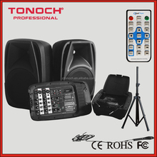 15 inch portable PA system combo speakers with mixer console (EOH15)