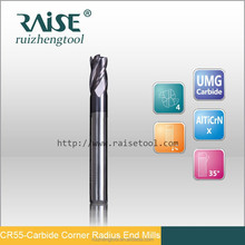 4 flutes CNC tools corner radius end mills / milling cutters / router bits used for mechanical workshop