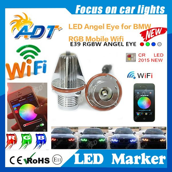 ADT newest for BMW mobile wifi RGB led marker angel eyes for bmw E39 E87 E60 E61 E63 E65 E66 E64 E83 E53