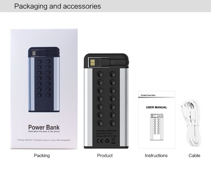 China Cool Product Built-in Cable Suction Cup Power Bank With Aluminum Material
