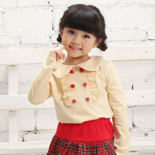 Autumn Fashion For Little Girl Top Picture Neck Design of Blouse