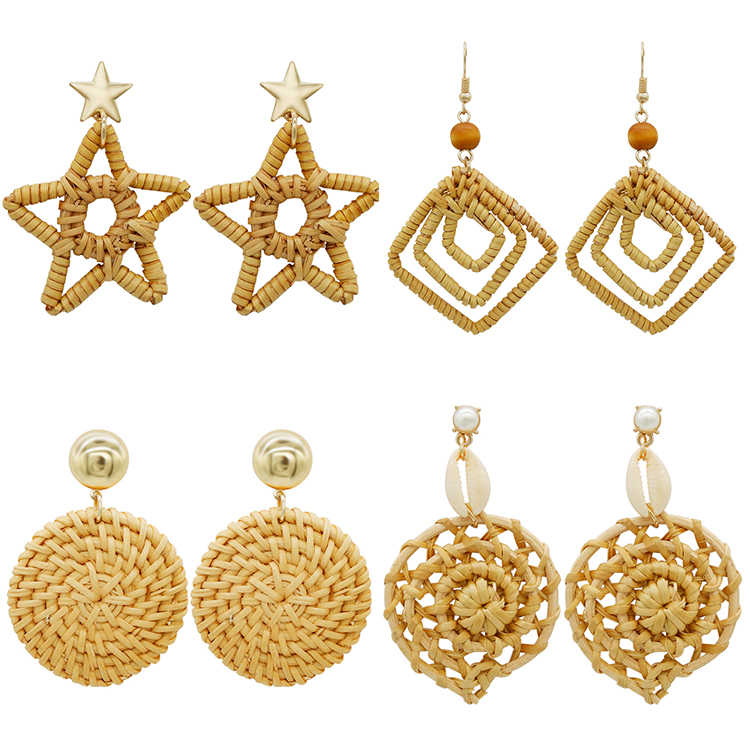 Wholesale trending hanging new model gold stud handmade wood bamboo woven rattan earring 2019 <strong>jewelry</strong> , drop earrings