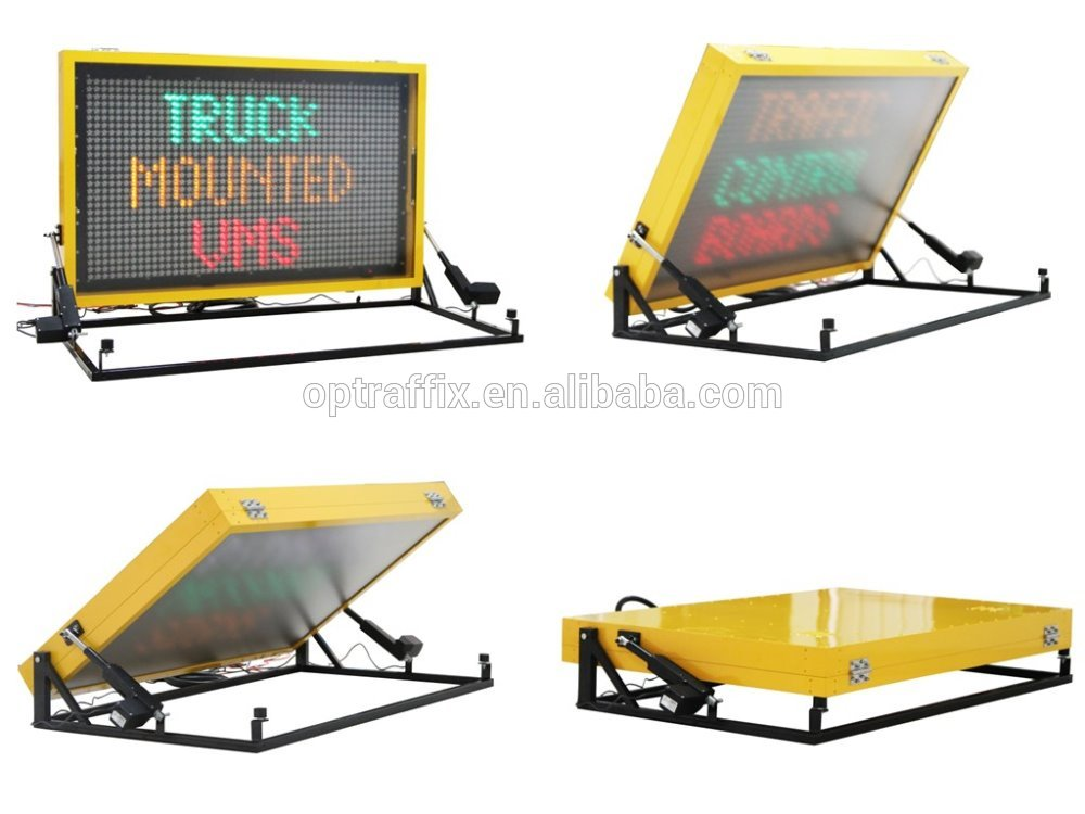 OEM Vehicle Mounted Outdoor Led Screen Traffic Safety Dynamic Message Sign Truck Mounted Vms Led Portable Colar Display Board