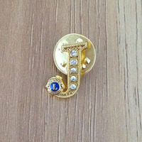 Music theme gold plating metal lapel pin with safety pin