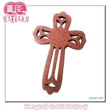 Custom made small wood Cross with hollow cut pattern ( Wooden craft in laser-cutting & engraving )
