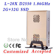 Fanless Small System Intel Atom 2550 2g ram 32g ssd micro industrial pc htpc pc case support Ubuntu Linux 12.04
