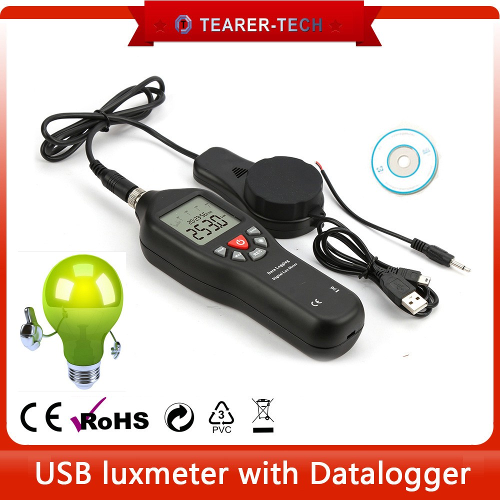 2018 high quality USB digital lux meter 0 to 200,000 LUX with datalogger for LED light meter TL-600