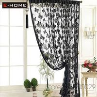 Gift For Christmas Holiday black embroidery curtain