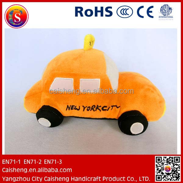 cute stuffed plush taxi toy plush car toy for kids