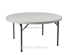 6ft round plastic folding table fold-in-half table