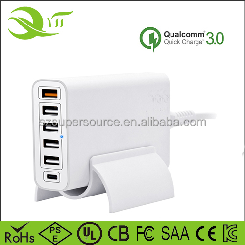 FCC Approved 60W 6 port USB charger docking 5V type-C fadapter QC 3.0 port for flat /MP4 MP3