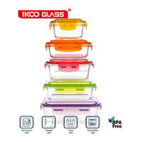 2015 top selling 10 pcs pyrex colorful glass food container for world market