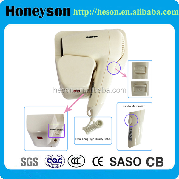 Professional wall mounted hotel hair dryer 1200W hotel hairdryer wall mounting wireless hair dryer
