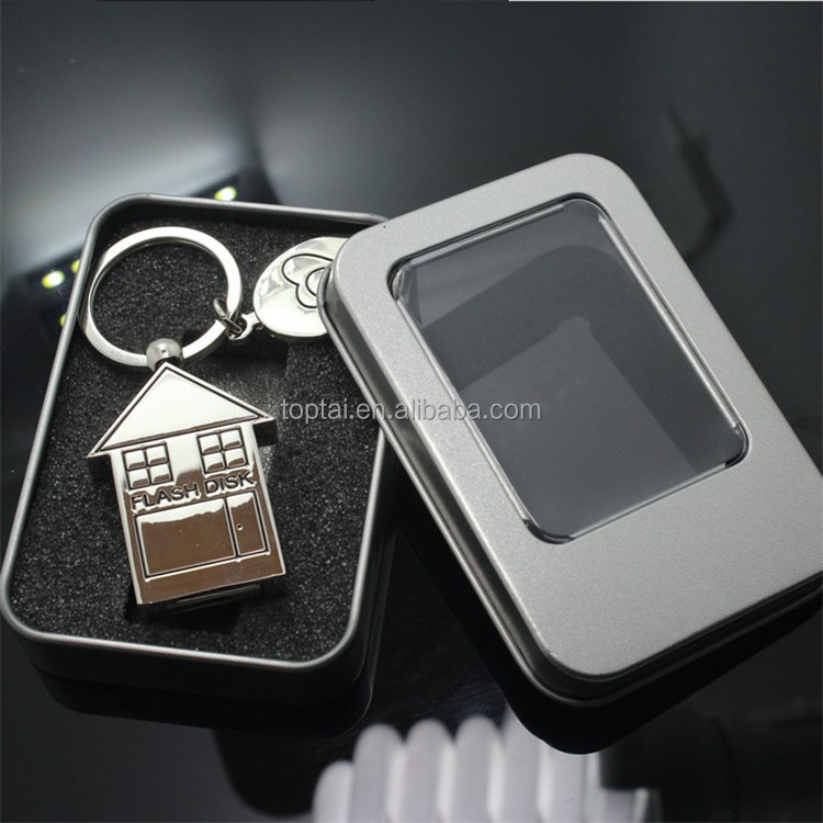 Cute Metal House Shape USB Flash Drive 32GB Usb Memory Stick Usb Stick 64GB Pendrive 32 GB Pen Driver 64GB Gift Gifts