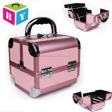 wholesale colorful pink Portable beauty vanity makeup cosmetic jewelry organizer train case with trays drawers locks