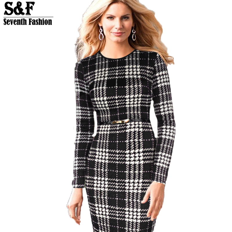 Summer Style 2015 Brand Fashion Party Elegant Casual Women Ladies Plaid Long Sleeve O-neck Knee Length Bodycon Dress Plus Size