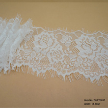 New design 13.5cm white eyelash french lace trimming for making wedding dress wholesale
