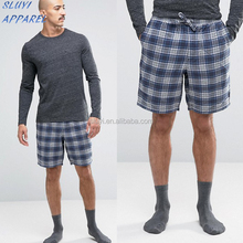Summer Stripes Cotton Men Pajama set Short sleeve shorts,Check Woven Lounge wear,Wholesale Adult Lounge pajamas mens