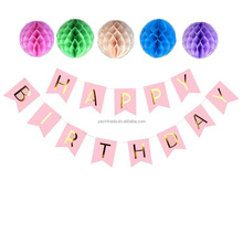 Hanging Tissue Paper Pom Poms And Happy Birthday Banner for Kids Birthday Party Decoration Set