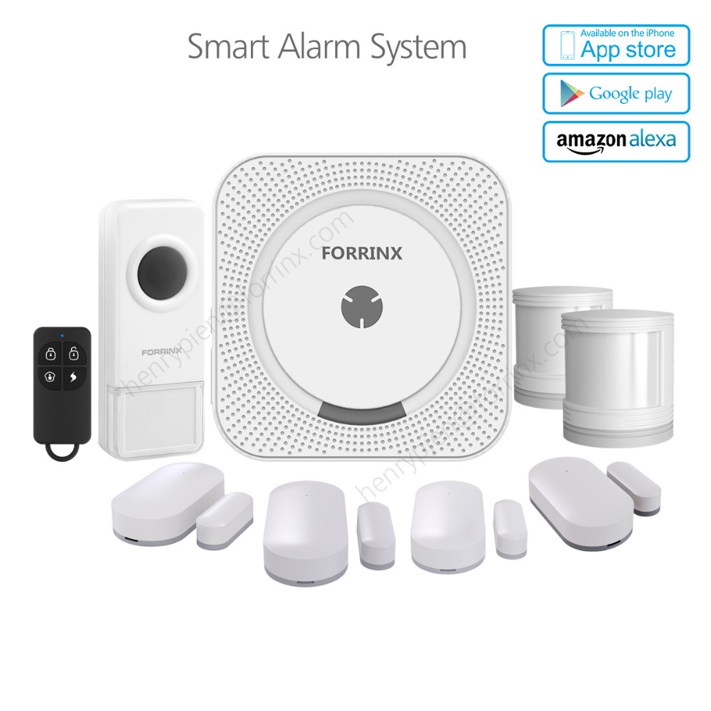 Smart WiFi wireless home security a Kit with 4 contact sensor 2 motion sensor 1doorbell work with Amazon Alexa for Voice Control