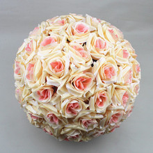 wholesale artificial silk hanging rose flower round ball for wedding decoration
