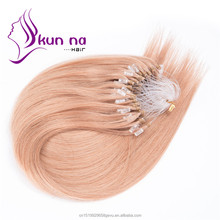 "7A 16""-28"" Loops Micro Rings Virgin Human Hair Extensions 0.5g/strand Brazilian Silky Straight Micro Ring Hair"
