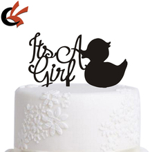 Its A Girl with lovely duck baby shower Acrylic Cake Topper