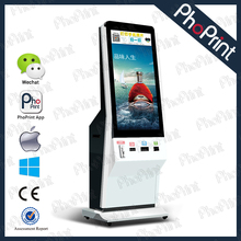 Phoprint 42 inch lcd advertising photo display smart phone coin operated photo print machine instant photo kiosk