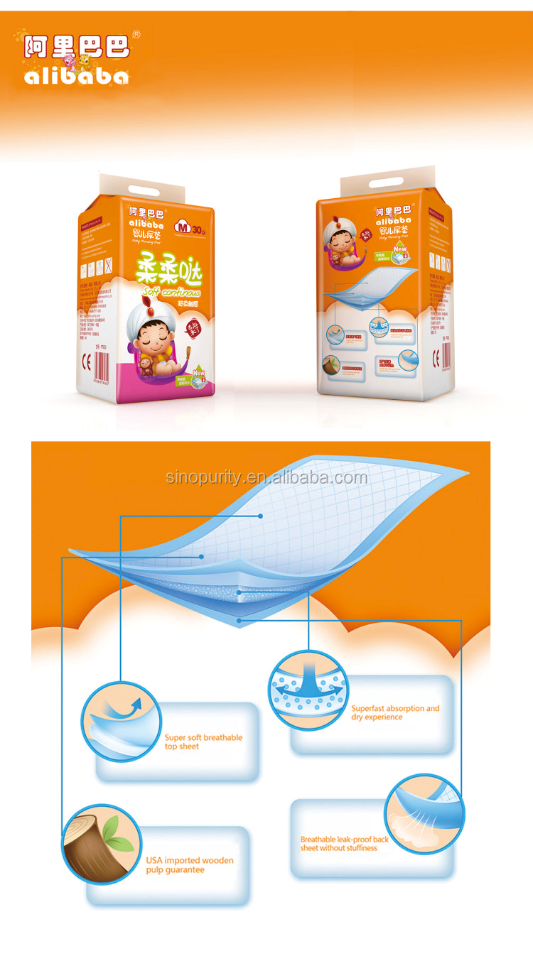 Diaper raw material suppliers sanitary pad packaging