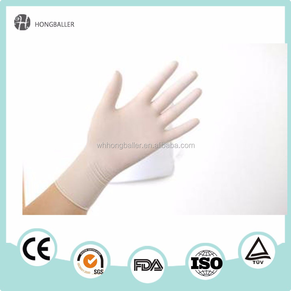 disposable 100%natural powdered latex rubber hand gloves