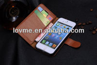 Genuine Leather Cowhide Flip Stand Wallet Case For Iphone 5s