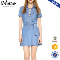 Lace up washed denim dress COTTON unlined short sleeves dress factory